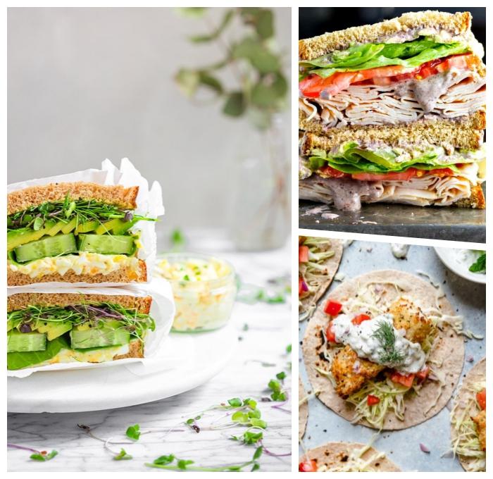 rezepte für kinder mittagessen zum mitnehmen, gesunde sandwiches, verschiedene rezepte
