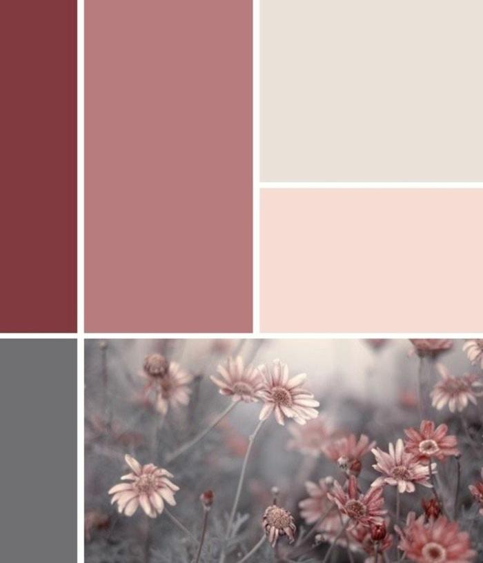 Mischfarben für Wände, verschiedene Rosa Töne, rosa Farbe, Farbpalette für Wandfarbe, Blumen in pink