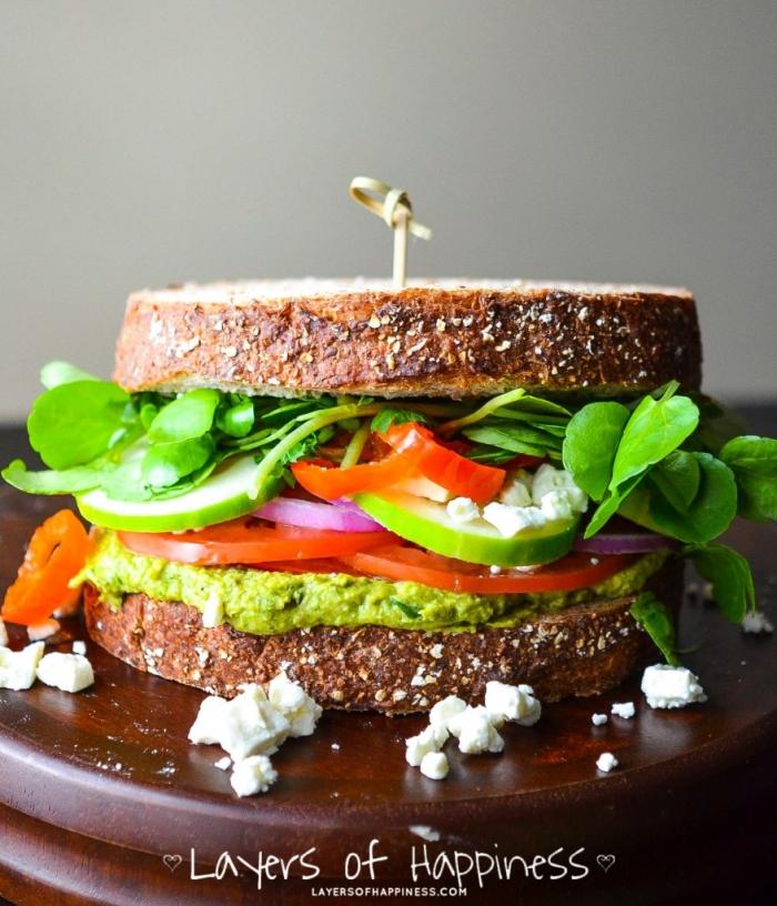 schnelle gerichte für jeden tag, was soll ich heute kochen, sandwich mit gemüse und avocadopüree