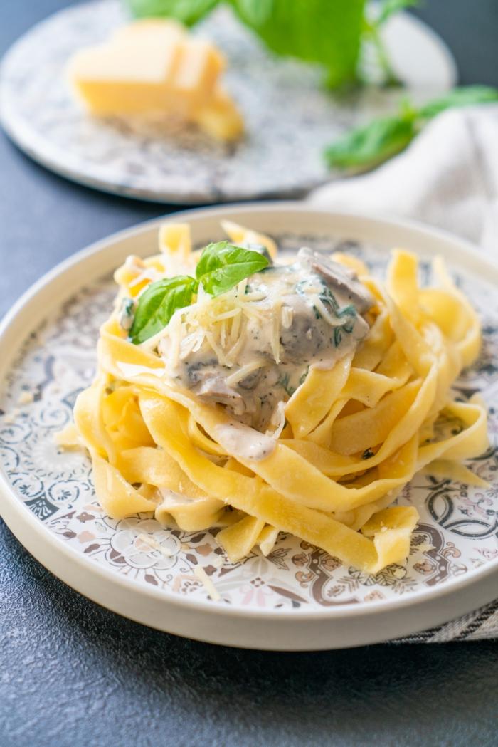 schnelle rezepte mittagessen, was koche ich heute mittag, pasta mit soße, pasmesan und basilikum