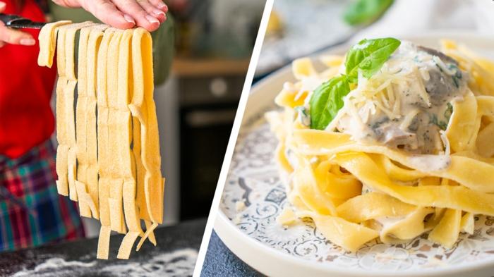 schnelle rezepte mittagessen, pasta mit chmpigong knobluach soße, selbstgemachte tagliatelle