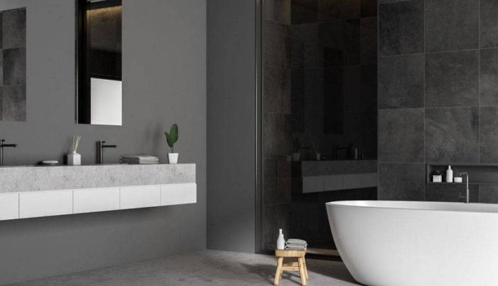 schöne wandfarben, badezimmer gestalten in weiß und anthrazit, minimalistisch wohnen