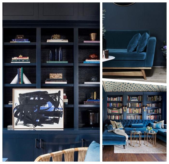 schöne wandfarben, eirncihtung in dunkelblau, trandige farbtöne, regale mit bücher