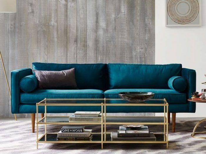 schöne wandfarben ideen, desginer sofa in grünblau, eckiger kaffeetisch aus glas und metall