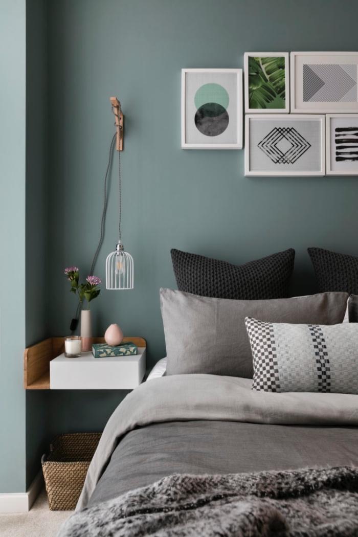 schöne wandfarben, trenidge farbtöne, schlafzimmer einrichten, wanddeko bilder, schlafzimmergestaltung
