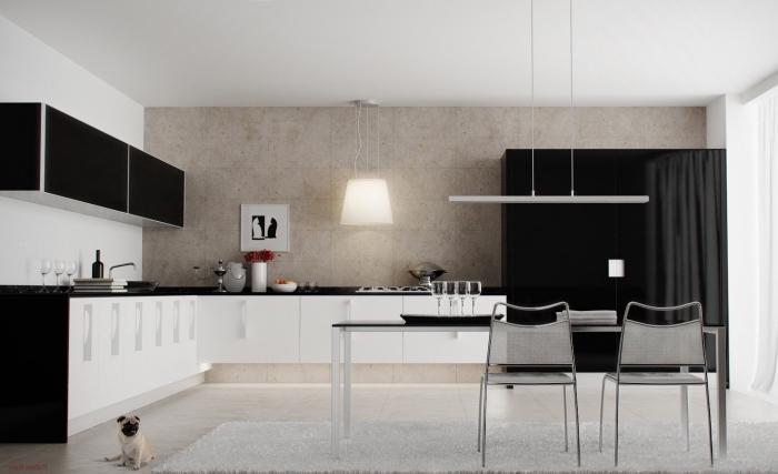 schöner wohnen wandfarbe, küche in schwarz und weiß, moderne küchengestaltung