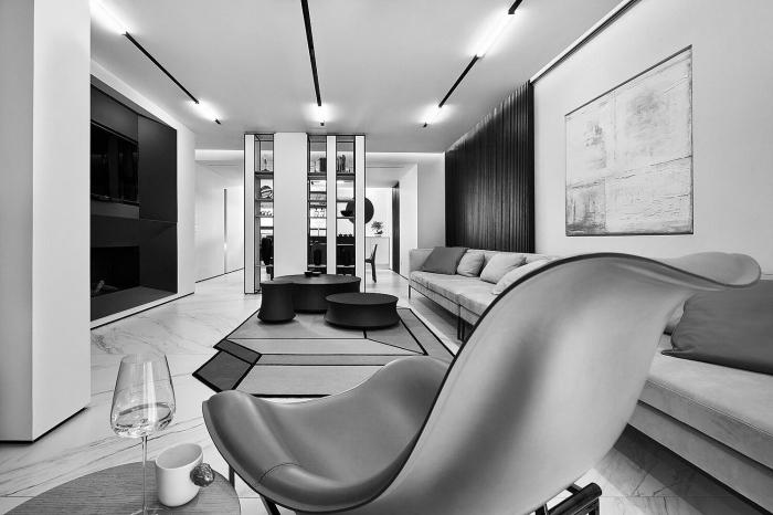 schöner wohnen wandfarbe, moderne einrichtung in schwarz und weiß, wohnzimmer gestalten