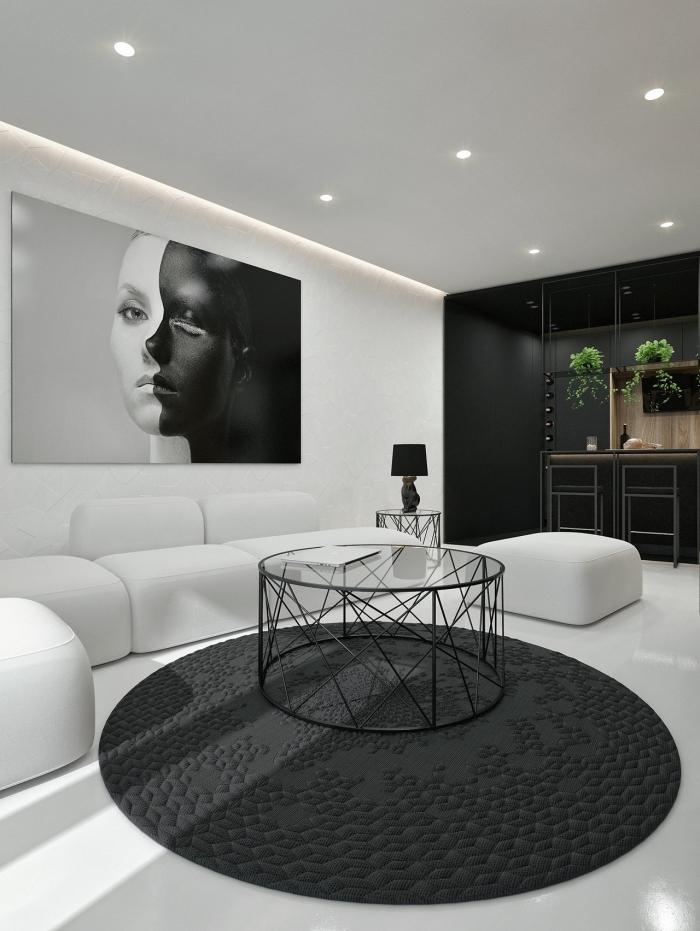 schöner wohnen wandfarbe, wohnzimmer gestalten in schwarz und weiß, wohnzimmerbelecuhtung ideen
