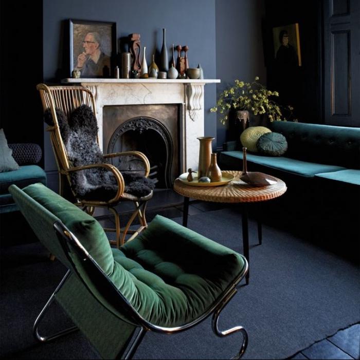 schöner wohnen wandfarbe, desginer einrichtung, kleines zimmer gestalten, einrichtung in blau und grün