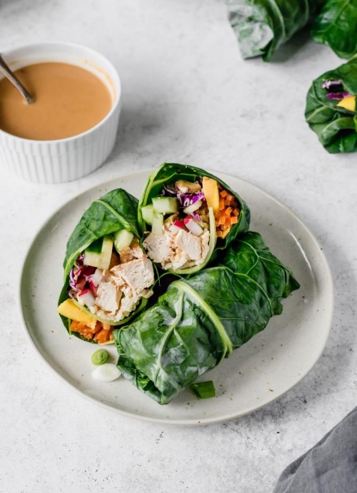 süße für wraps, picknick essen selber machen, soße mit erdnussbutter, frühlingsrollen mit hänchenfleisch