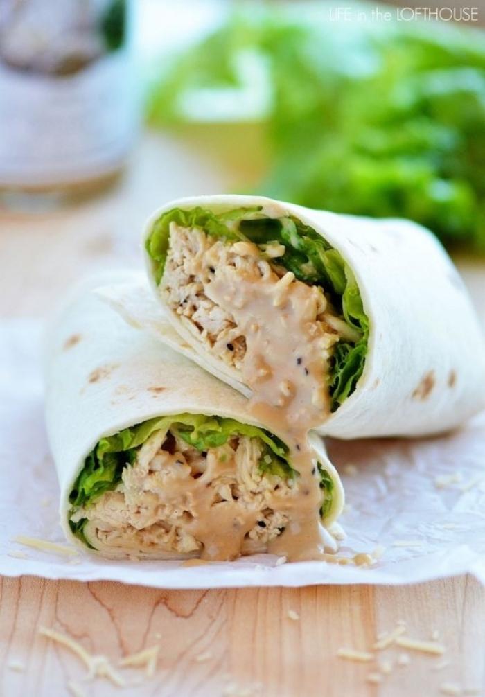 tortillas wraps rezept, ceaser wraps mit creme soße, hänchenfleisch und slatblättern