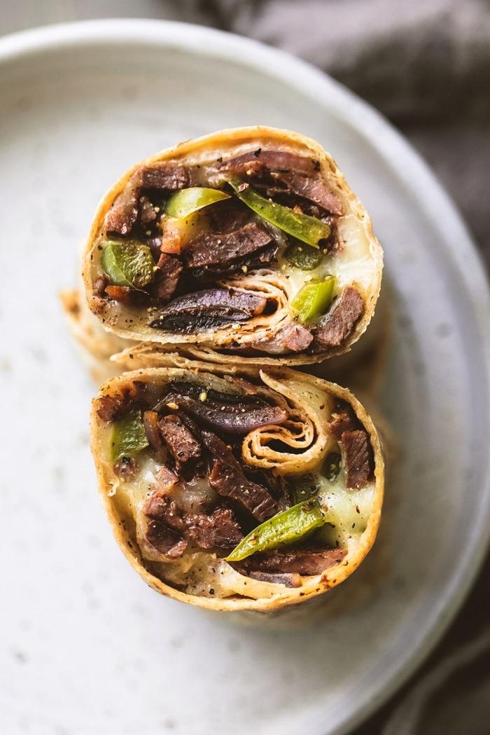 tortilla wraps rezept mit rinderfleisch, läse und grünem paprika, was kann ich heute kochen