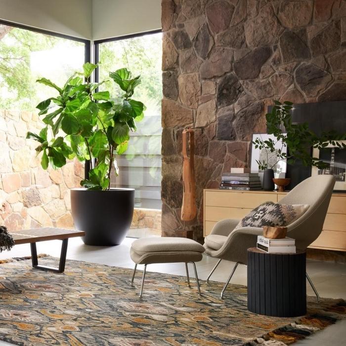 trandfarben 2019 wand, einrichtung in naturfarben, große zimmerpflanzen, naturmaterilaien