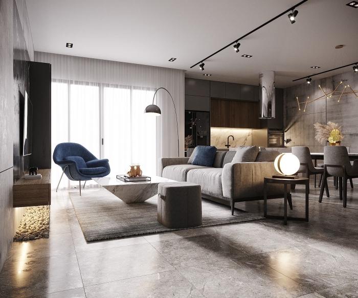 trendfarben 2020, einrichtung in grau, dunkelblau als ankentfarbe, wohnzimmer einrichten ideen