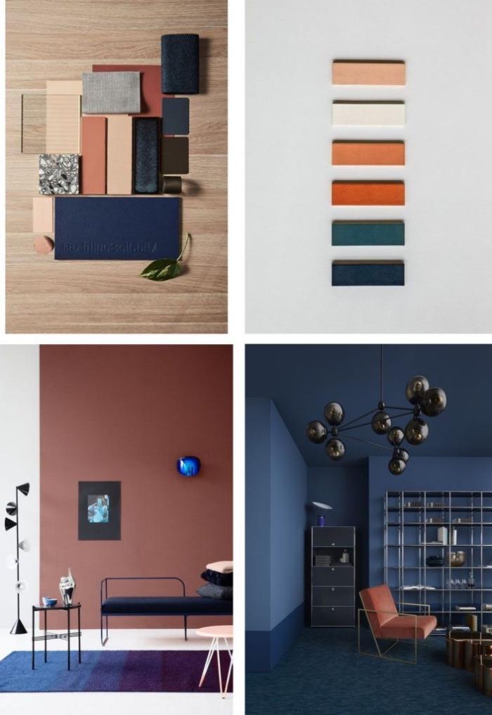 trendfarben 2020, moderne einrichtungsideen, trenidge farben, wände streichen, pantone farbe dunkelblau