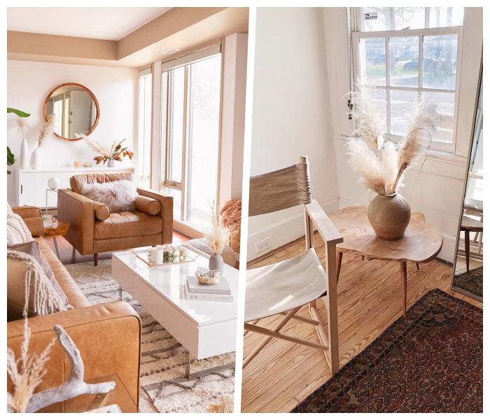 trendfarben 2020, wohnung einrichten, wohnzimmerdeko in coppuccino, skandinavisch wohnen