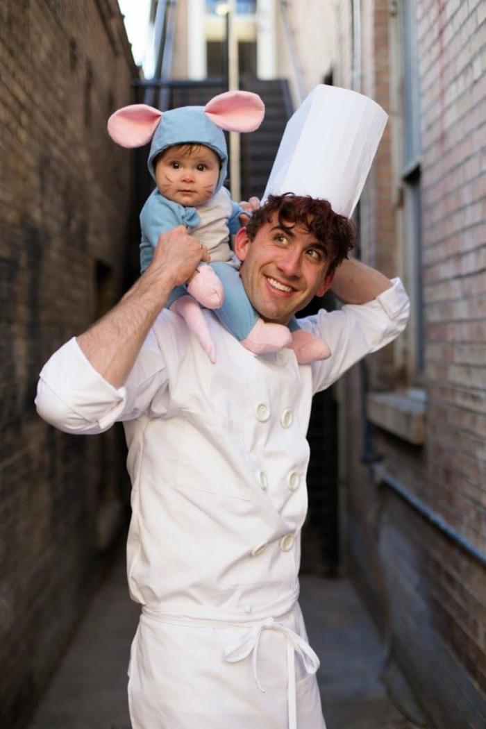 Ratatouille Kostüm, Vater und Kind, Kind im Mauskostüm in blau, Vater verkleidet als Koch, Faschingskostüm Kleinkind,