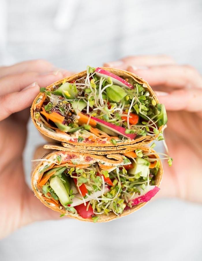 vegetarische wraps, eifnache zubereitung, burittos mit gemüse und kräutern, low carb. kochen ohne fleisch
