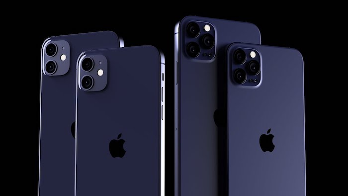das neue iphone 12, vier blaue handys mit logo von apple, das neue smartphone von apple