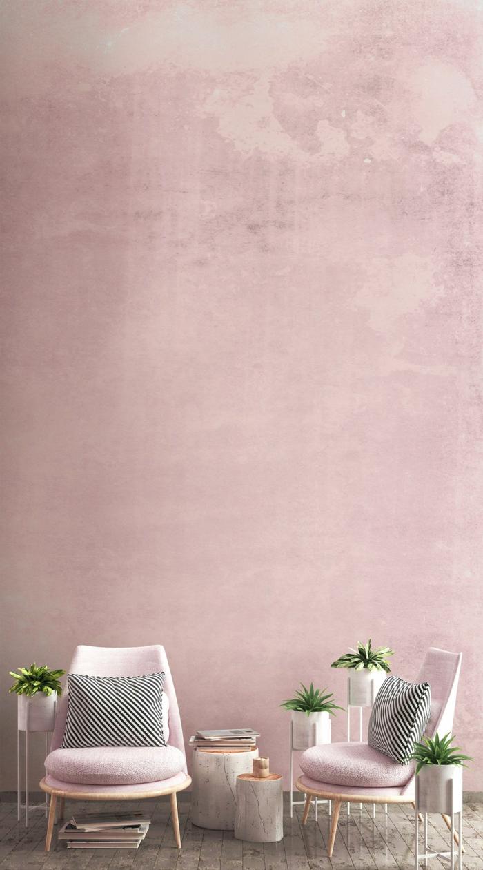 Wohnzimmer grau rosa, zwei Stühle in altrosa und gestreifte Kissen in schwarz und weiß, Dekoration mit grünen Blumen, grauer Boden