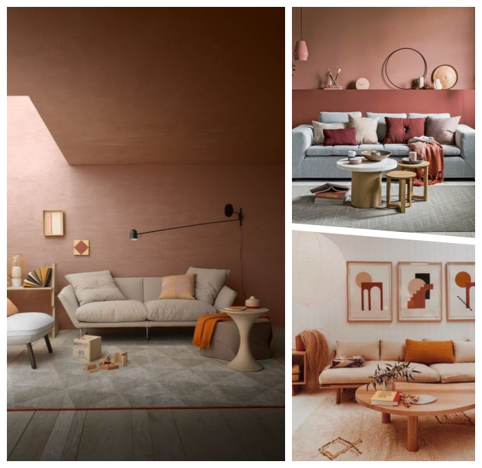 wandfarbe cappuccino, desginer einrichtung in pfirsich und beige, wohnzimmer gestalten