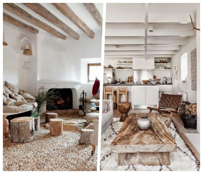 wandfarben trends wohnzimmer, weiße wände, natürliche farben, möbel aus massivholz, skandinavische deko