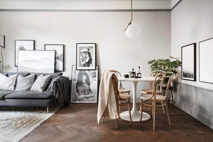 wandfarben trends wohnzimmer, wohnzmmer mit essbereich, wanddeko bilder, holzbpden