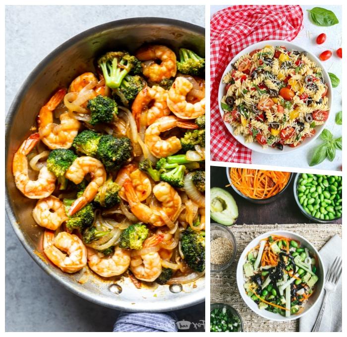 was koche ich heute, garnelen mit brokoli und butter, pasta salat mit cherry tomaten