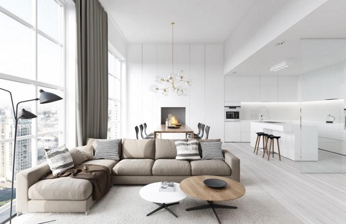 wohnzimmer farben 2019, desginer mäbel, küche und wohnzimmer in einem, beige ecksofa