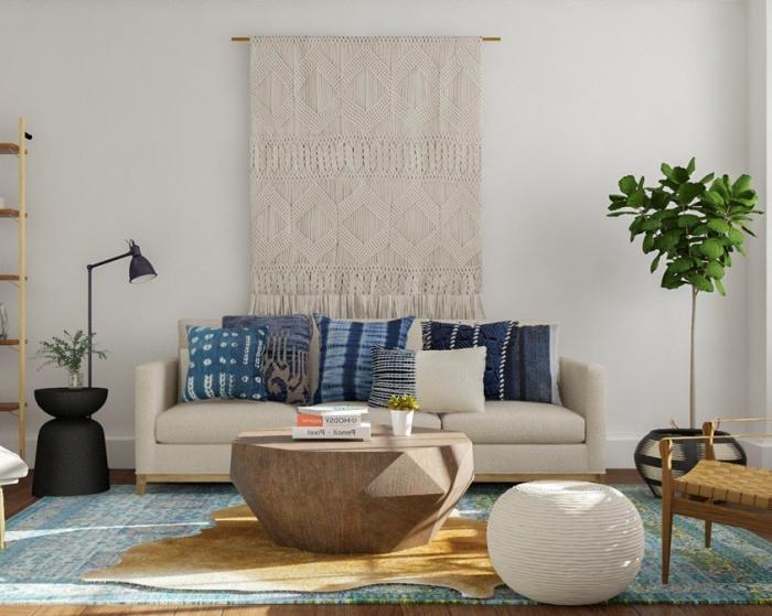 owhnzimmer farben 2019, trendfarbe cappuccino, desginer tisch aus massivholz, wohnzimmerdeko