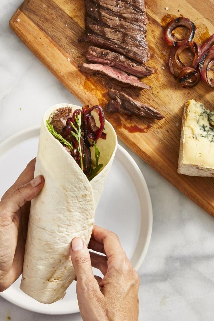 wrap teif selber machen, burittos mit füllunf aus rotem fleisch, rinderfleisch und käse