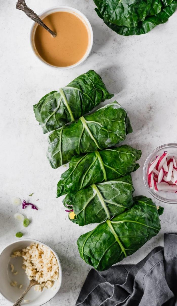 wraps selber machen, low carb essen ideen und rezepte, gesundes mittagessen mit reis