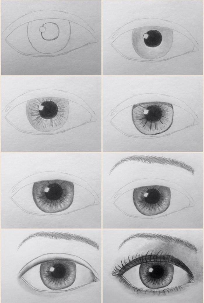 zeichnen für anfänger, frauenauge skizzieren, schritt für schritt anleitung in bildern