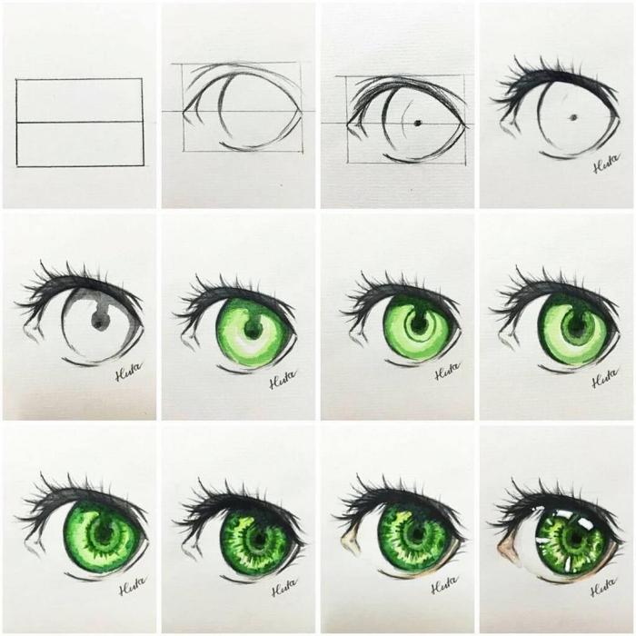 zeichnen für anfänger, manga augen zeichnen, grüne auge, anleutung in bildern