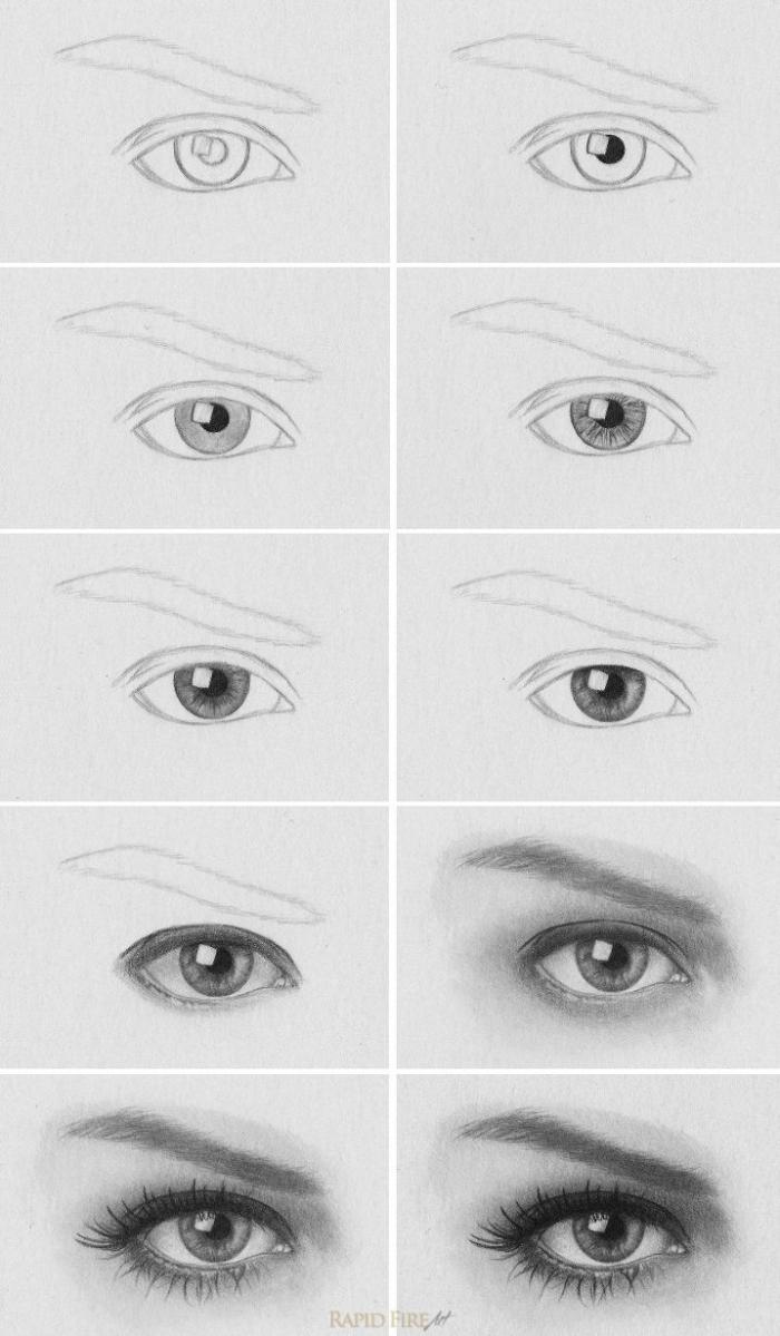 zeichnen für anfänger, wie zeichnet man auge, realitisches frauenauge, anleitung zum nachzeichnen