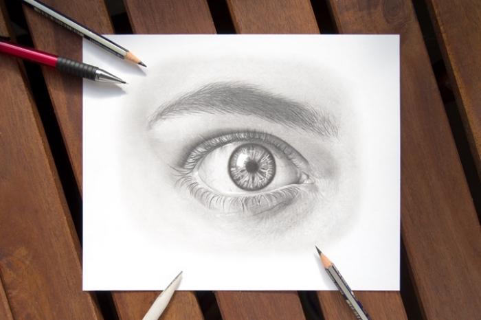 zeichnen lernen mit bleistift, blatt papier, wie zeichnet man auge, realitische bleistiftzeichnung