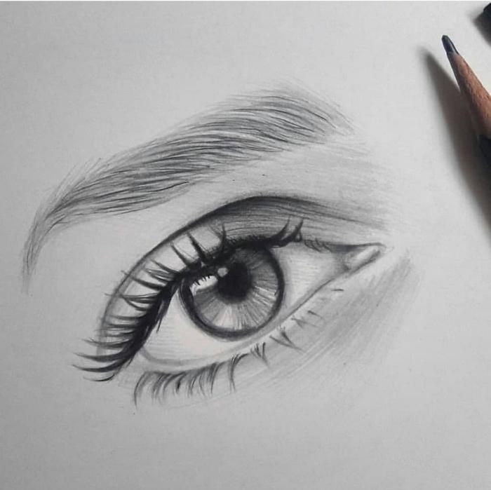 zeichnen lernen mit bleistift, frauenauge zeichnen schritt für schritt, bleistiftzeichnungen
