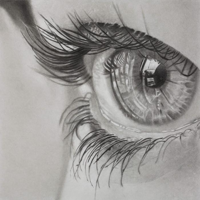 zeichnen lernen mit bleistift, realitische bleistiftzeichnung, augenzeichnung, lange wimpern