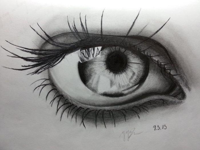 zeichnen lernen mit bleistift, zealistische zeichnungsideen, shwarz graue bleistiftzeichnung