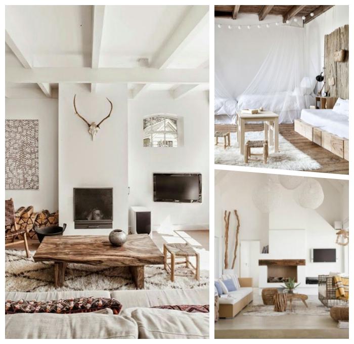 zimmer farben wohnzimmer, eirncihtung in skandinavischem stil, tisch aus massivholz