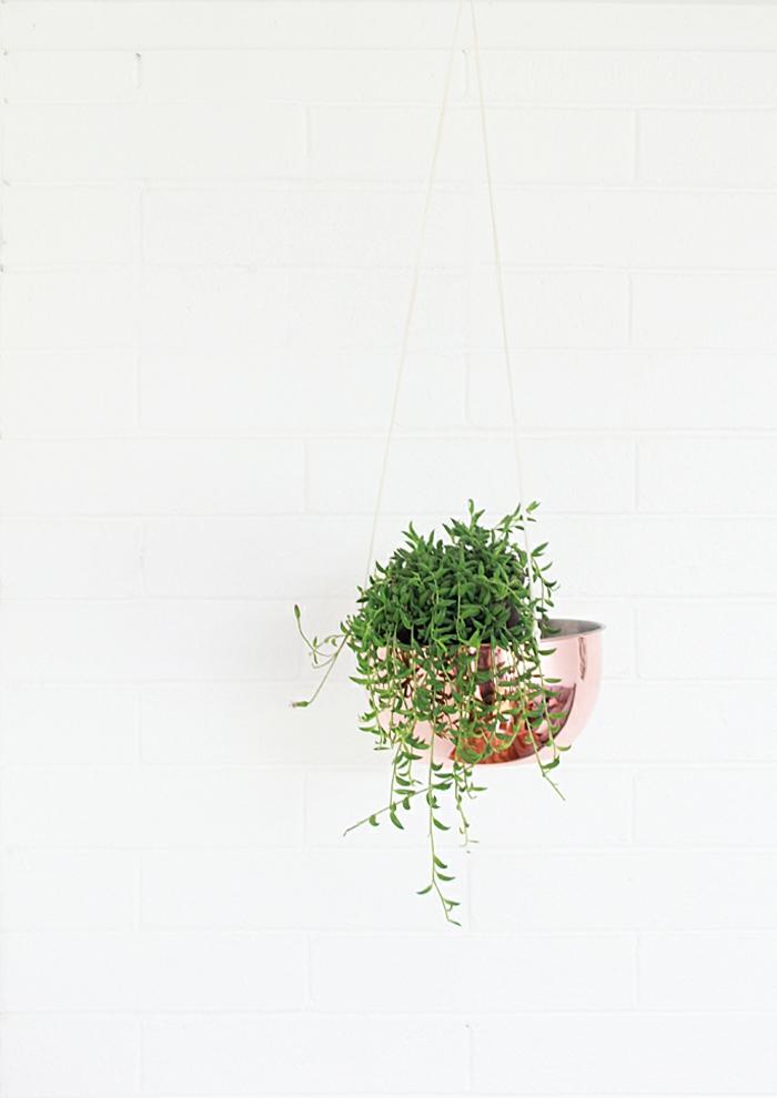 Gartendeko selbstgemacht, DIY Upcycling Ideen Garten, Übertopf aus Kupferschale basteln, grüne Pflantze im pinken Topf