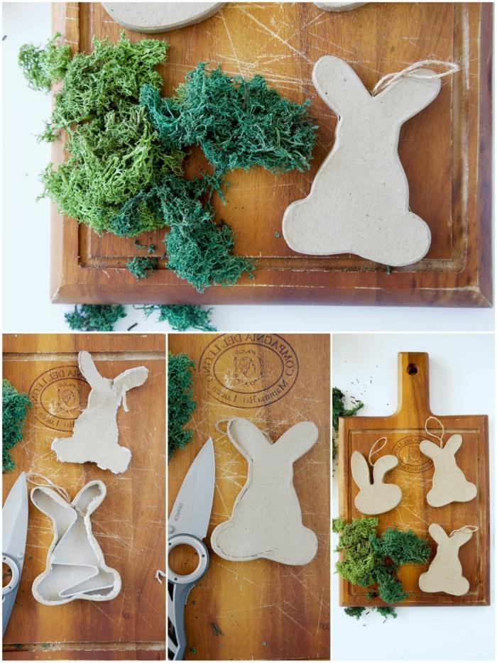 Collage DIY Anleitung zum basteln von Osterhase aus Karton und Moos, Frühlingsdeko aus Naturmaterialien selber machen
