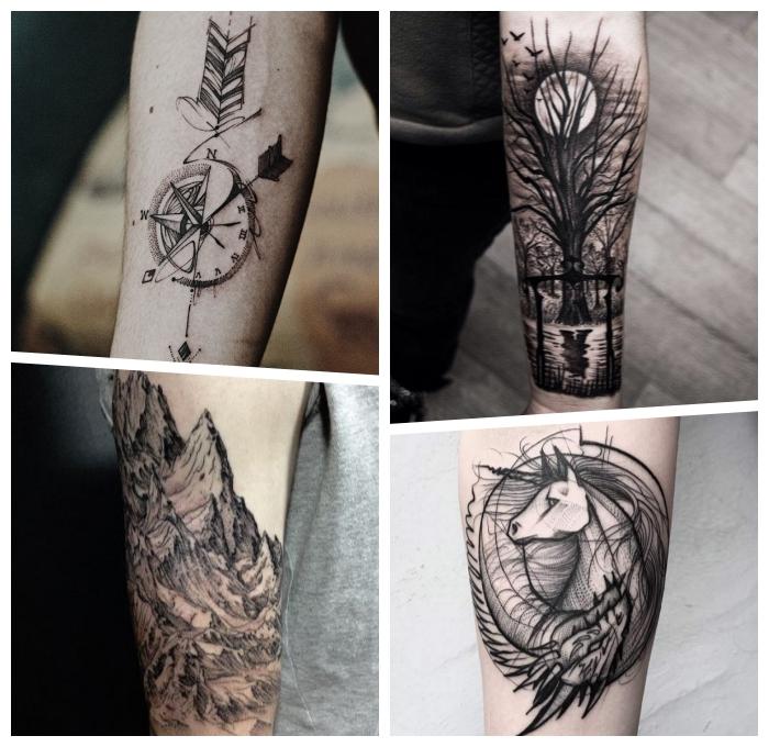 arm tattoo mann, die bestne tätowierungen für männer, blackwork tätoweirungen