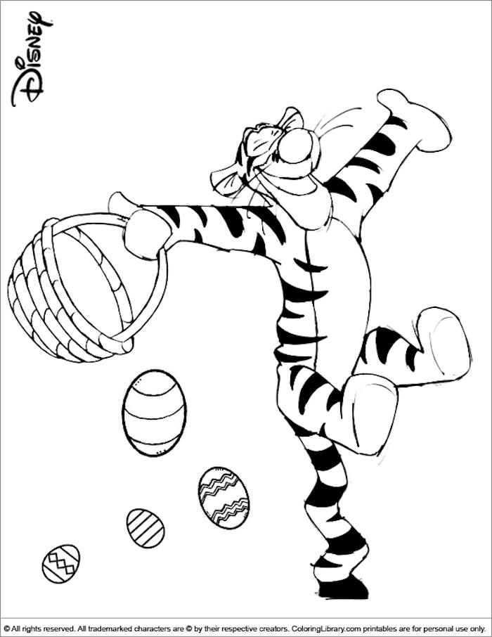 Disney Bilder zum Ausmalen, Tiger hält Osterkörbchen, Ostereier fliegen in der Luft