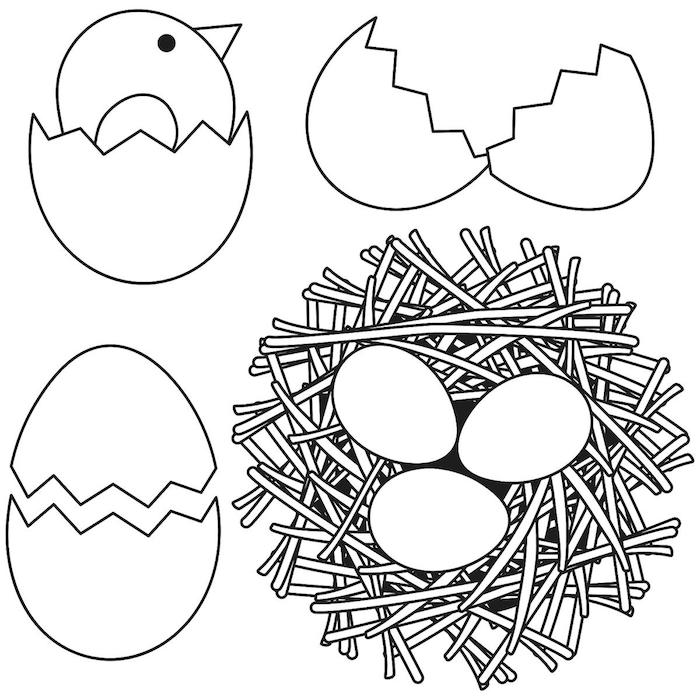 Osterbild zum Ausdrucken und Audmalen, Osternest mit drei Eiern, kleines Küken