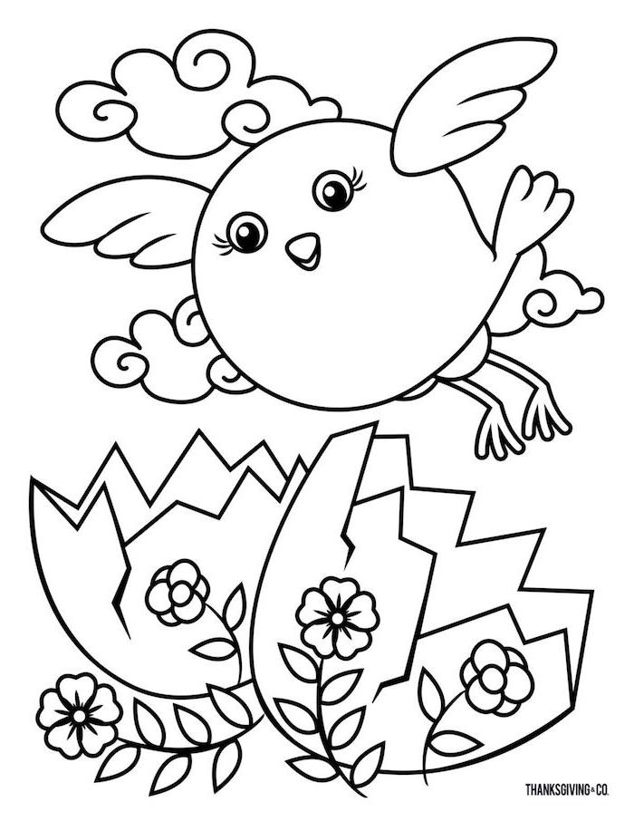 Bilder für Kinder zum Ausmalen, fliegendes Küken, Osterei und Blumen