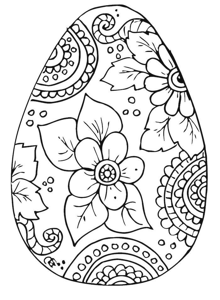 Osterbilder für Kinder und Erwachsene zum Ausmalen, Osterei mit Blumen Dekoration