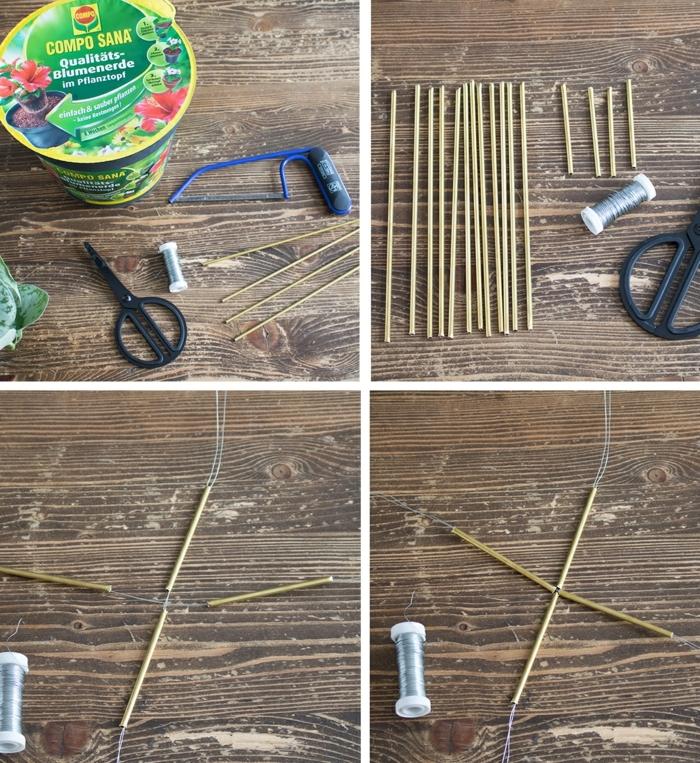 Bastelbedarf und Schritt für Schritt Anleitung zur Anfertigung von Pflnazer, Messingrohre und Draht, Gartendeko Ideen