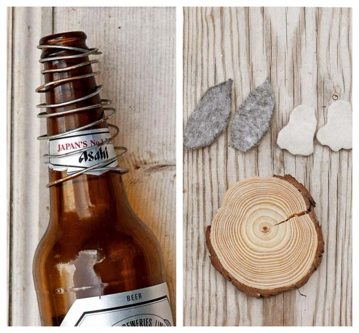 DIY Anleitung zum Basteln von Osterhase, Feder formen mit einer Bierflasche, Holzscheibe und Füße und Ohren aus Stoff, pinterest osterdeko