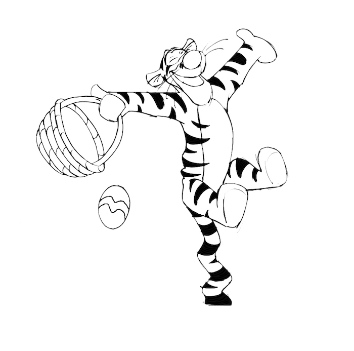 Winnie the Pooh Bilder zum Ausmalen, Tiger hält Osterkörbchen, ein Osterei fliegt in der Luft